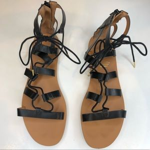 H&M Black & Tan Gladiator Zip Up Sandals Size 8